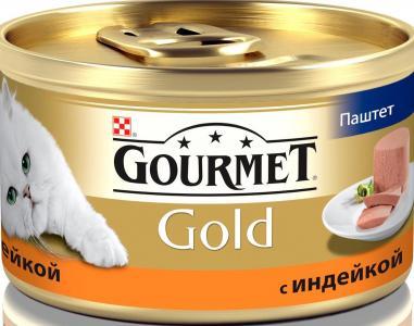 Корм влажный  Gold для взрослых кошек, индейка, 85г Gourmet