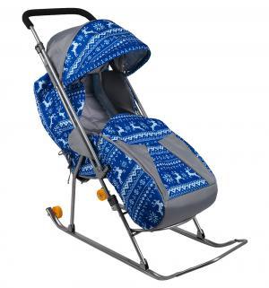Санки-коляска  Снежинка премиум, цвет: олени синие Galaxy