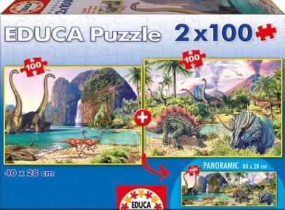 Пазл 2 в 1 Мир динозавров х 100 деталей Educa