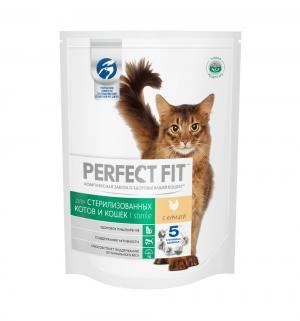 Корм сухой  для взрослых кошек после стерилизации, курица, 190г Perfect Fit