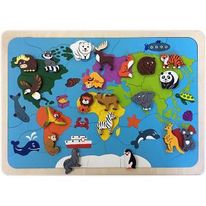 Рамка-вкладыш  Карта мира, 82 детали Крона. Цвет: разноцветный