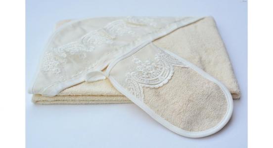 Полотенце-уголок и рукавичка Chepe