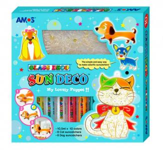 Набор витражных красок с витражами Собаки и кошки 10 цветов, 10.5 мл (12 витражей) 6/24 Amos