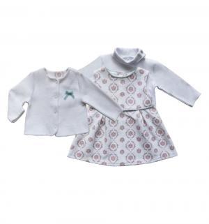 Комплект жакет/сарафан/водолазка , цвет: белый/розовый Soni Kids