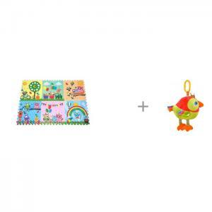 Игровой коврик  Парк сов 180х120 см и Подвесная игрушка Forest Попугай Музыкальная Mambobaby