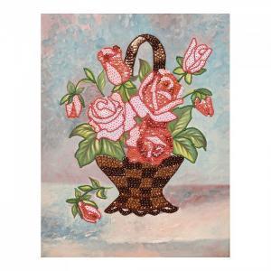 Мозаика из пайеток на холсте Букет роз МХ-16 Волшебная мастерская