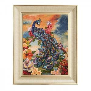 Мозаика из пайеток на холсте Павлин МХ-09 Волшебная мастерская