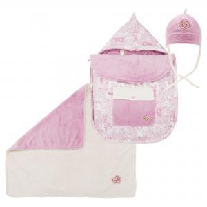 Комплект (конверт, одеяло и шапка) розового цвета DEUX PAR. Цвет: розовый