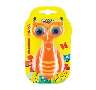 Ножницы детские длина: 100 мм материал ручек: пластик  Пчёлка с чехлом Каляка-Маляка