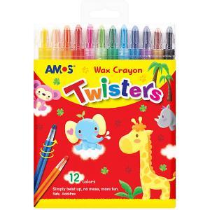 НАБОР восковых  карандашей Твистеры, 12 цв.. в упаковке c европодвесом Amos. Цвет: разноцветный