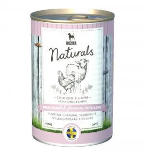 Влажный корм  Naturals для взрослых собак мясной паштет, курица/ягненок, 410г Bozita