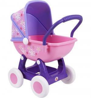 Коляска для кукол  Arina №2 4-х колёсная розовая люлька фиолетовое основание Coloma Y Pastor