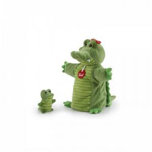 Мягкая игрушка на руку Крокодил с крокодильчиком 26x24x11 см Trudi