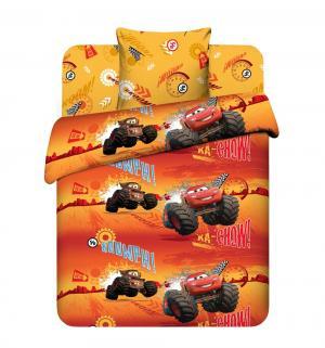 Комплект постельного белья  Молния Маккуин, цвет: оранжевый/красный Василек