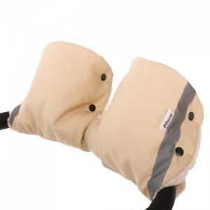 Муфта-варежки на коляску (мех/экокожа) Pituso