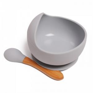 Комплект детской посуды из силикона: тарелка на присоске с ложкой Baby Nice (ОТК)
