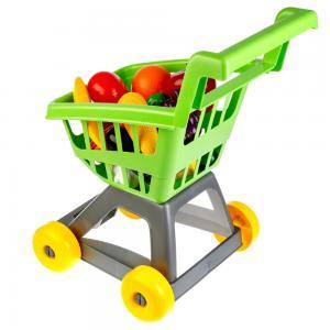 Игровой набор  Тележка для супермаркета с фруктами и овощами зелёная Совтехстром