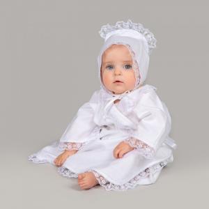 Комплект для крещения девочки 2 предмета (платье, чепчик) Pituso