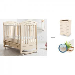 Детская кроватка  Шарлотта качалка + комод Аистенок Матрас Плитекс Юниор Гандылян