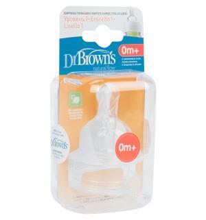 Набор сосок Dr.Browns с широким основанием медленный поток силикон, 0-3 мес Dr.Brown's